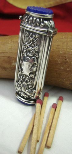 Sterling Silver Match Safe  Rare Blue Lapis by oldwestantiques, $575.00