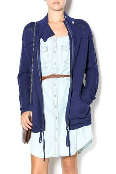 This zip up anorak cotton navy sweater jacket is the perfect go to for those fall nights. Jacket is a little oversized and we love it with everything.   Navy Sweater Jacket by Michael Stars. Clothing - Jackets, Coats & Blazers - Jackets Georgia