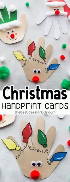 Christmas Handprint Christmas Handprint Cards - Christmas Crafts for Kids. Love how cute these handmade Christmas cards are! Kids will love making these this Christmas season. Perfect for Preschool Kindergarten and older kids too! Christmas Art For Kids, Toddler Christmas, Diy Christmas Cards, Hand Print Christmas Cards, Christmas Card Greetings, Childrens Christmas Card Ideas, Christmas Holiday, Christmas Card For Teacher, Christmas Decorations Diy For Kids