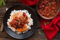 Salmon with tomato-ginger chutney and cardamon rice