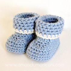 Fun And Easy Baby Booties Crochet Pattern For Beginners ༺✿ƬⱤღ http://www.pinterest.com/teretegui/✿༻