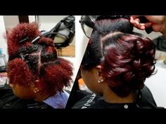 AMBER RED + BODY CURLS ON NATURAL HAIR | #SalonWork - https://hairstraightenerhome.com/amber-red-body-curls-on-natural-hair-salonwork/ #FlatIron