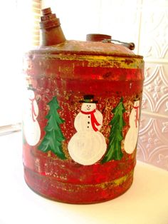 Antique Motor Oil Can Industrial Christmas Hand Painted Christmas Decoration