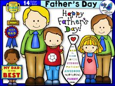 FREE! New set of Father's Day clip art! 14 graphics in color and black and white. Whimsy Workshop Teaching