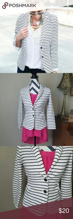 Old Navy Ponte Knit Blazer On point, yet comfortable! White with navy stripes, this knit blazer is a great starting point for layering styles! Two button closure and pockets on each side. 85% cotton 15% polyester. The looks are endless with this great blazer! Old Navy Jackets & Coats Blazers