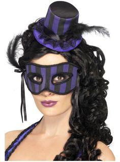 Sombreo y antifaz de cabaret burlesque | Comprar