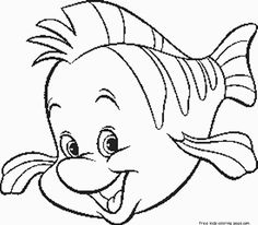 Printable disney  The Little Mermaid Flounder coloring pages