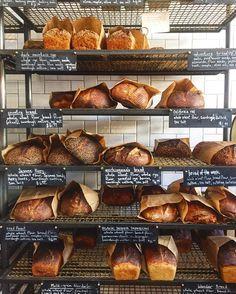 The big beautiful bread shelf at The Mill in San Francisco, CA.