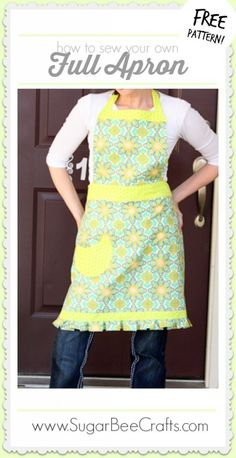 how to sew your own Full Apron Tutorial, with FREE pattern - - love this one - Sugar Bee Crafts Sewing Hacks, Sewing Tutorials, Sewing Crafts, Sewing Diy, Sewing Aprons, Sewing Clothes, Sewing Patterns Free, Free Pattern, Apron Patterns