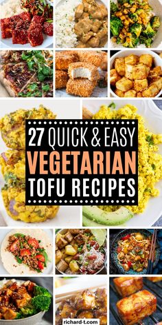 In this post I have put together 27 easy tofu recipes that'll make you fall in love with this healthy food, plus it will taste amazing! Easy Vegetarian Lunch, Best Vegetarian Recipes, Easy Healthy Recipes, Easy Meals, Vegan Tofu Recipes, Beginner Vegetarian, Vegan Meals, Healthy Food, Tofu Tacos