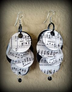 Recycled sheet music earrings @youngchasity please make me these!