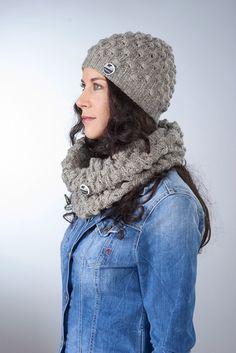 """Mütze """"Mona"""" ● graubeige von Knitti Wollsachen auf DaWanda.com"""