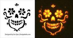 Free-Beautiful-Skull-Pumpkin-Carving-Stencil-2015