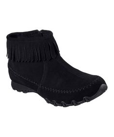 Black Relaxed Fit® Bikers Indian Summer Suede Boot by Skechers #zulily #zulilyfinds