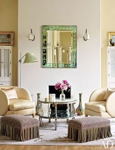 Midler's dressing room is graced with an Art Deco mirror and Paris flea-market chairs | http://archdigest.com