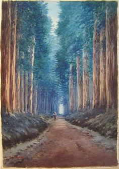 A. Yoshida (Japanese)  [Figure On Forest Road], c1920s. Watercolour