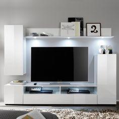 Diese Stylische Wohnwand Bestehend Aus Hängevitrine, Stauraumschrank,  Lowboard Und Wandregal Bietet Idealen Stauraum Für