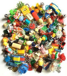 HUGE LOT VTG Plastic Gumball Charms - Cracker Jack Prizes - Toys - Trinkets