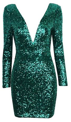 Odessa Open Back Sequin Dress with Shoulder Pads - Forest Green from Raw Glitter | Shop Hottest New Party Dresses | Women's Clothing, Jewelry