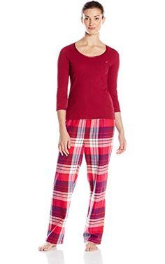 634519177c Nautica Sleepwear Women s Pink and Purple Plaid Flannel Pajama Set
