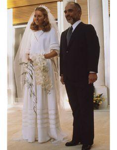 Queen Noor (American born Lisa Halaby) on her wedding day to King Hussein of Jordan.