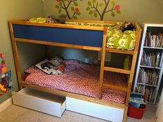 We have a small house and our kids currently share a bedroom. We needed more storage space without adding more furniture to an already small room. This bunk bed with storage hack, from start to finish