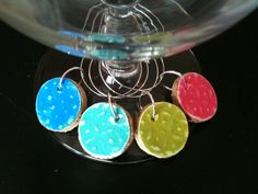 PICK YOUR COLORS Cork Wine Charms with by AccentsHomeDecor on Etsy, $5.99
