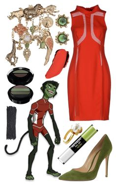 """Beast Boy"" by caitosaur ❤ liked on Polyvore featuring Cartoon Network, Gianvito Rossi, Giorgio Armani, Gaetano Navarra, Maybelline, Topshop, Stephen Dweck, Revlon, Paul & Joe and ELYONA"