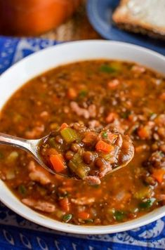 Slimming Eats Syn Free Bacon and Lentil Soup - gluten free, dairy free, Slimming World and Weight Watchers friendly
