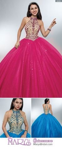 Style 4685: Halter quinceanera ball gown with lace bodice embellished with beads, lace-up back, basque waist line, and sparkling tulle gathered skirt. From Mary's Quinceanera Fall 2016 Beloving Collection Sweet 15 Dresses, Elegant Prom Dresses, Beautiful Dresses, Ball Gowns Prom, Ball Gown Dresses, Quince Dresses, Maid Dress, Fantasy Dress, Bridal Wedding Dresses