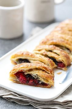 These Tart Cherry & Chocolate Chunk Danish Breakfast Pastries are basically your excuse to eat pie for breakfast. Brunch Recipes, Breakfast Recipes, Dessert Recipes, Desserts, Breakfast Pastries, Danish Pastries, Danish Bakery, Yummy Treats, Sweet Treats