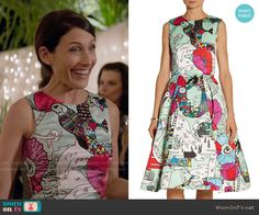 Abby's bird and flower illustration print dress on Girlfriends Guide to Divorce.  Outfit Details: https://wornontv.net/55008/ #GG2D