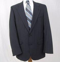 Burberry Prorsum Vintage Blazer 42R Navy Blue 100% Pure Wool Vented Sport Coat #Burberry #TwoButton