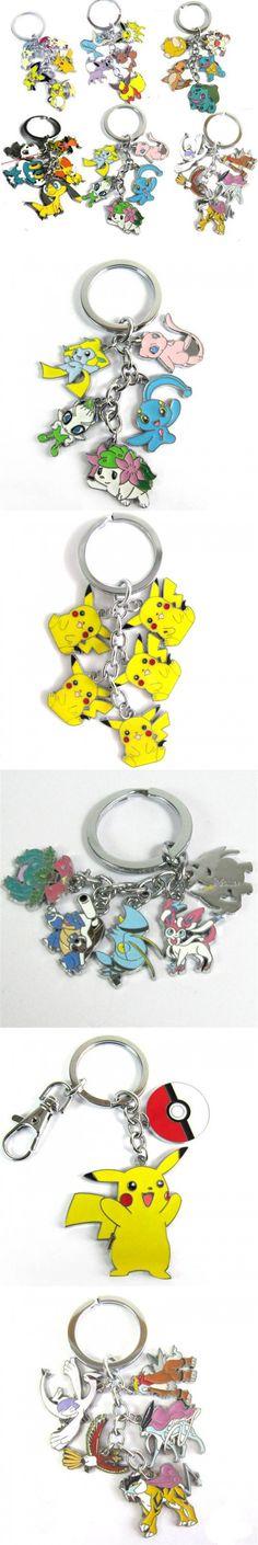 Pikachu Keychain Set Metal Lot Key Rings Monster Mew Shaymin Meowth Psyduck Charmander Raikou Lugia Key Chains Kids Toys $2.6