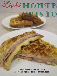 Light Monte Cristo Sandwich Light Monte Cristo Sandwich -dijon mustard, cheese and ham on bread, dip in egg mixture eggs, 1 C. milk) then put in waffle iron until browned and cheese melted Light Monte Cristo San Monte Cristo Sandwich, Grilling Recipes, Cooking Recipes, Waffle Maker Recipes, Cinnamon Roll Waffles, Sandwiches, Foods With Iron, Soup And Sandwich, Waffle Sandwich