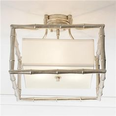 Silver Bamboo Square Ceiling Light