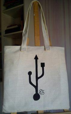 Tote bag, hecho y pintado a mano