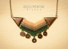 Green macrame necklace brass micro macrame necklace green