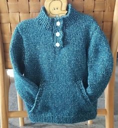 Knitting pattern for a child's sweater with pocket and buttoned neck. Sizes 2 to 10 years. Jumper Knitting Pattern, Chunky Knitting Patterns, Baby Knitting, Chunky Knit Throw, Knitted Throws, Kids Outfits, Blue Outfits, 10 Years, Sweaters For Women