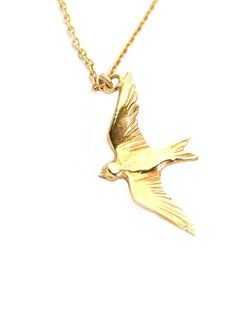 Alex Monroe Flying Swallow Necklace - Gold - KJs Laundry
