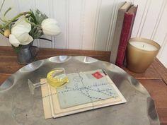 Vintage Silver Tray Vignette Books letters by VignetteWonders
