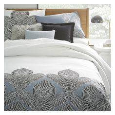 West Elm Organic Fleur Sateen Duvet Cover, Twin, Moonstone ($80) ❤ liked on Polyvore featuring home, bed & bath, bedding, duvet covers, blue, blue shams, organic twin bedding, organic bed linen, west elm bedding and twin bedding