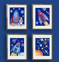 children space art boys space nursery childrens wall by terezief
