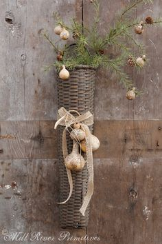 Primitive Fall Autumn Wreath with Pip Berry on Twiggy Grapevine Base with TIMER Candle GCC6318