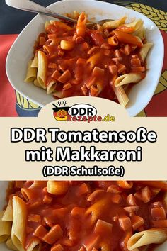 DDR tomato sauce with macaroni noodles - THE tomato sauce of the GDR par excellence – to go with it: delicious macaroni noodles. A Food, Food And Drink, Evening Meals, Food Items, Tortellini, Dinner Recipes, Pasta Recipes, Chicken Recipes, Veggies