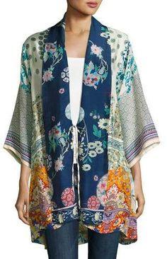 Johnny Was Mixed-Print Twill Kimono Jacket, Petite