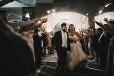 Epic sparkler exit, wedding reception ideas, bride and groom night pictures