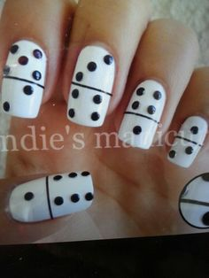 Funny black and white nail art