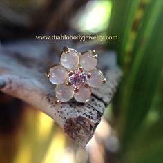 BLVA Nostril Screw Rose Quartz Petals Lavender CZ Center