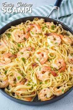 Easy Shrimp Scampi is a classic! Succulent shrimp swimming in garlic butter sauc… Easy Shrimp Scampi is a classic! Succulent shrimp swimming in garlic butter sauce is ready in about 20 minutes and will leave you wanting to lick your plate! Shrimp Recipes For Dinner, Fish Recipes, Seafood Recipes, Healthy Recipes, Seafood Appetizers, Easy Shrimp Recipes, Delicious Pasta Recipes, Simple Pasta Recipes, Mini Appetizers